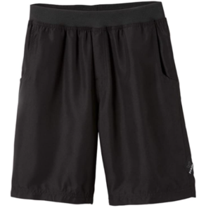 Image of a comfortable hiking shorts in black color, with garterized waist.