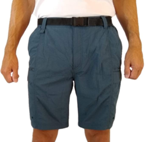 This is a photo of a guy standing, wearing a blue knee-length cargo short with black belt,