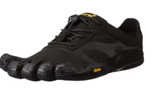 Image of a five finger shoe in black color with laces in place.