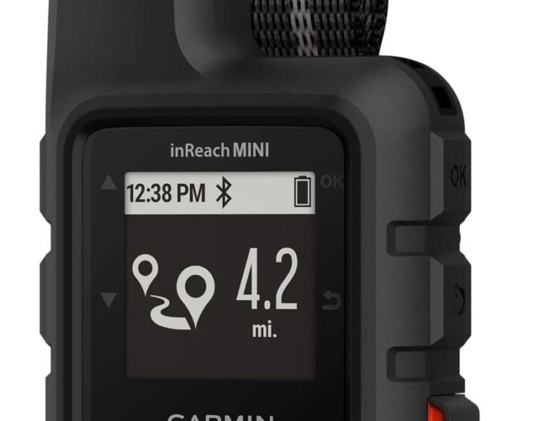 Photo of a black Garmin inreach mini satellite communicator in black color with display on its LED screen.