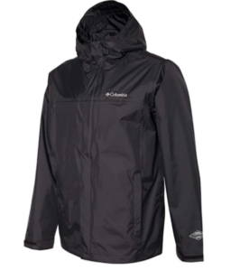 Image of a rainjacket from columbia with hood and in shiny black color.