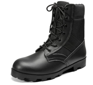 This is a close-up image of a black shiny boot with lace closure on a white background.