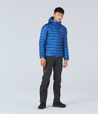This is an image of a young man standing wearing the Arc'teryx Cerium Jacket in blue color.