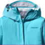 This is a close-up image of the Patagonia Torrentshell Jacket in turquoise color.